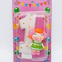 Свеча на 1 годик в торт Пупс для девочки 11*7