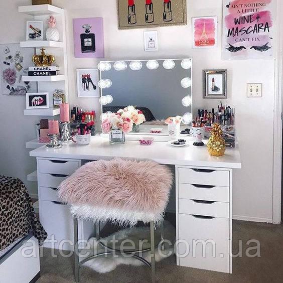 Туалетный стол с ящиками и ручками вырезами, стол для макияжа без зеркала
