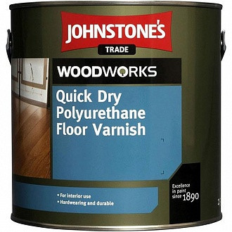Лак для паркета Johnstone's Quick Dry Polyurethane Floor Varnish Clear Satin (полуматовый) 2,5 л
