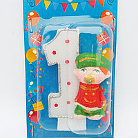 Свеча на 1 годик в торт Пупс для мальчика 11*7 качество