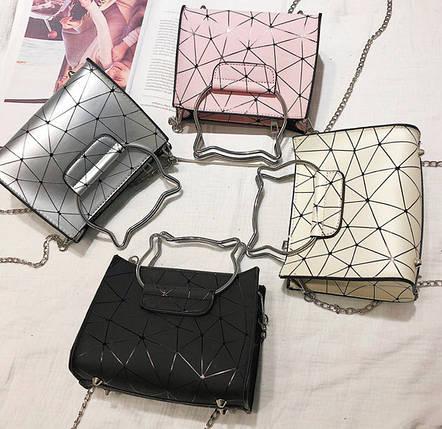 Модна сумка з ручками котиками і голографічним дизайном, фото 2