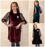 Детское-подростковое нарядное платье с прозрачными рукавами 17124, фото 1