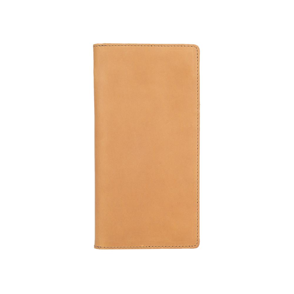 Кожаный бумажник на кнопках светло желтого цвета с отделением для монет