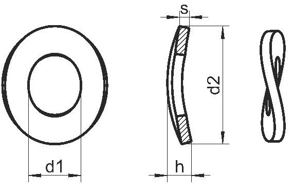 Схема пружинной шайбы DIN 137 B