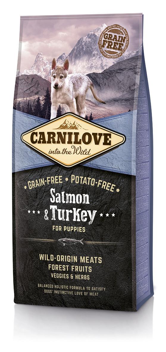 Сухой корм для щенков Carnilove Salmon & Turkey Puppy с лососем и индейкой 12 кг + 1,5 кг