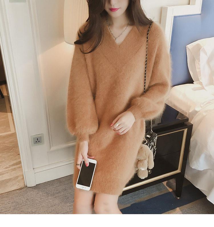 Женское свободное теплое платье цвет коричневый