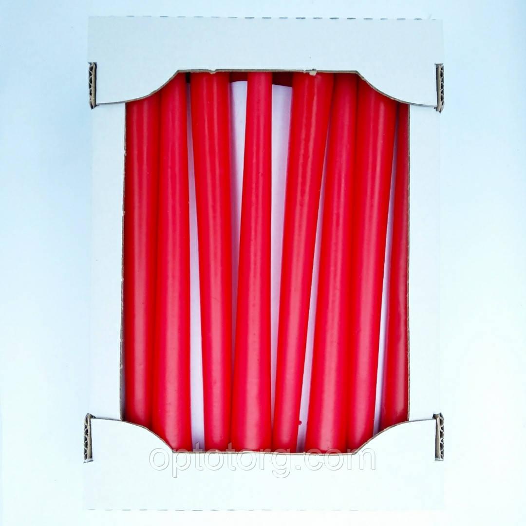Свеча декоративная конусная лаковая красная 25 см качество