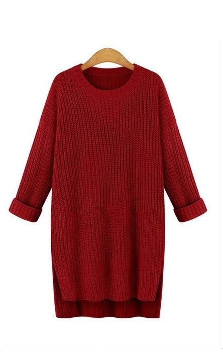 Модный женский бордовый свитер вязаный удлиненный