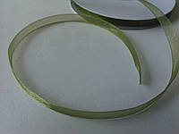 Зеленая лента из органзы для вышивки и декора 0,6 см. Пометрово.