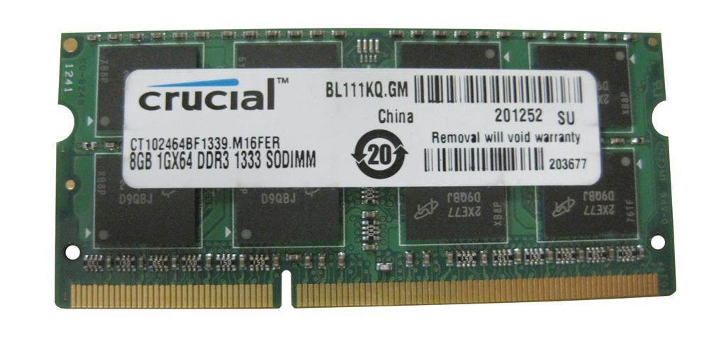 "Оперативная память Crucial DDR3/8GB/1333MHz/SO-DIMM CT102464BF1339.M16FER ""Over-Stock"" Б/У"