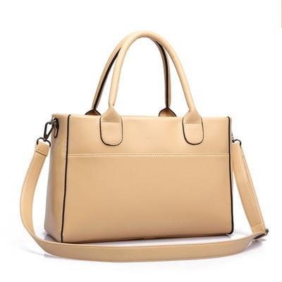 Женская бежевая сумка вместительная на молнии