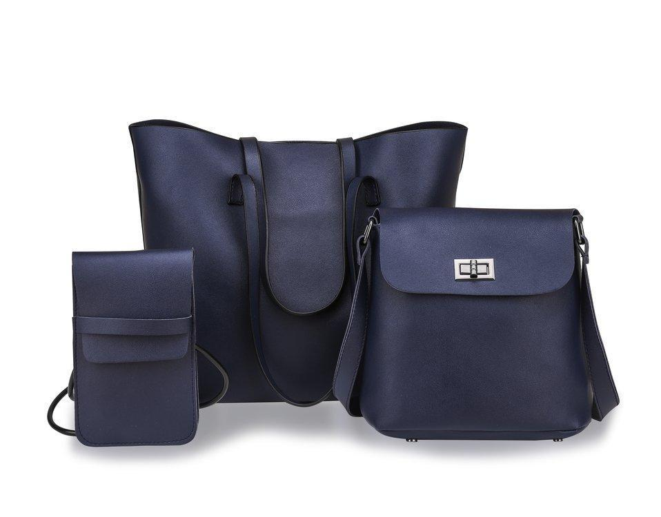 Набор женских сумок 3в1 из мягкой экокожи черный