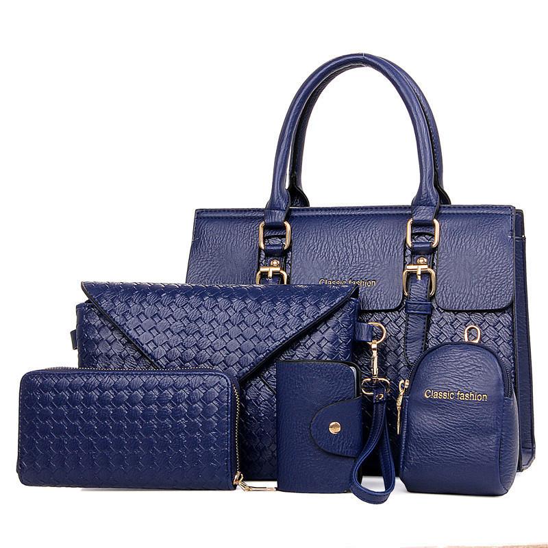 Набор женских сумок 5в1 синий из экокожи