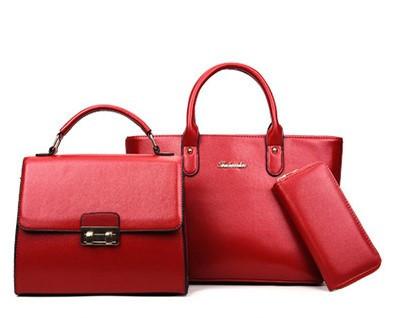 Набор женских сумок 3в1 классический красный + подарок