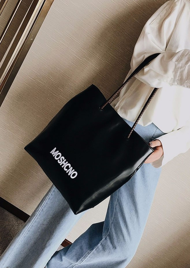 Женская модная сумка-шоппер из гладкой экокожи черная, фото 6