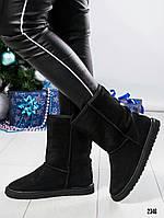 Угги женские с жемчугом черные, фото 1