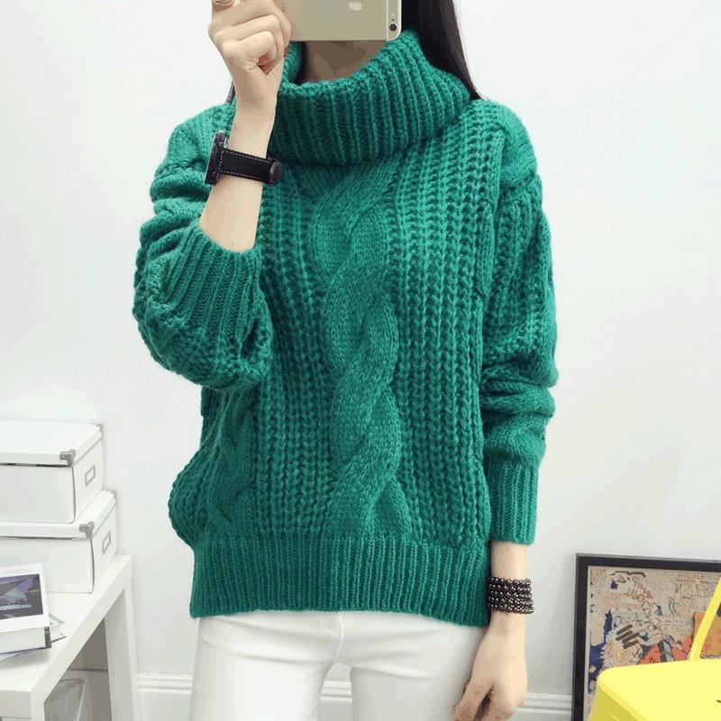 Модный женский вязаный зеленый свитер с воротником хомутом