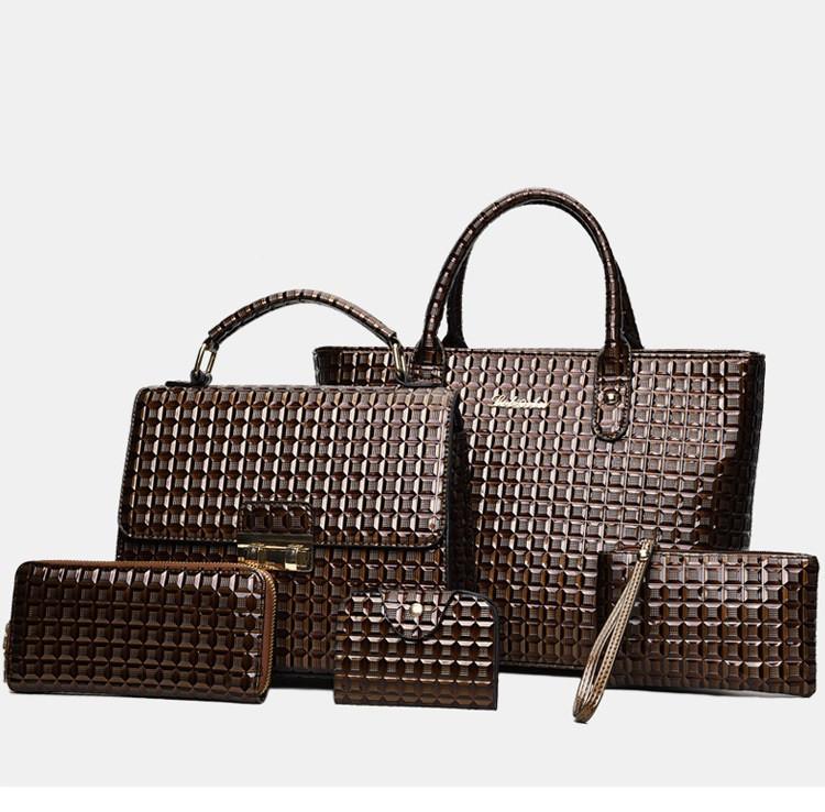 Женская сумка классика набор 5в1 коричневый из экокожи опт