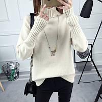 Теплый женский вязанный свитер с воротником цвет хаки