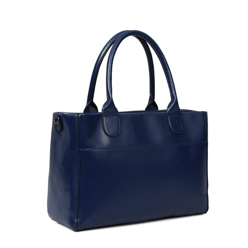 Элегантная женская сумка синяя на молнии из экокожи