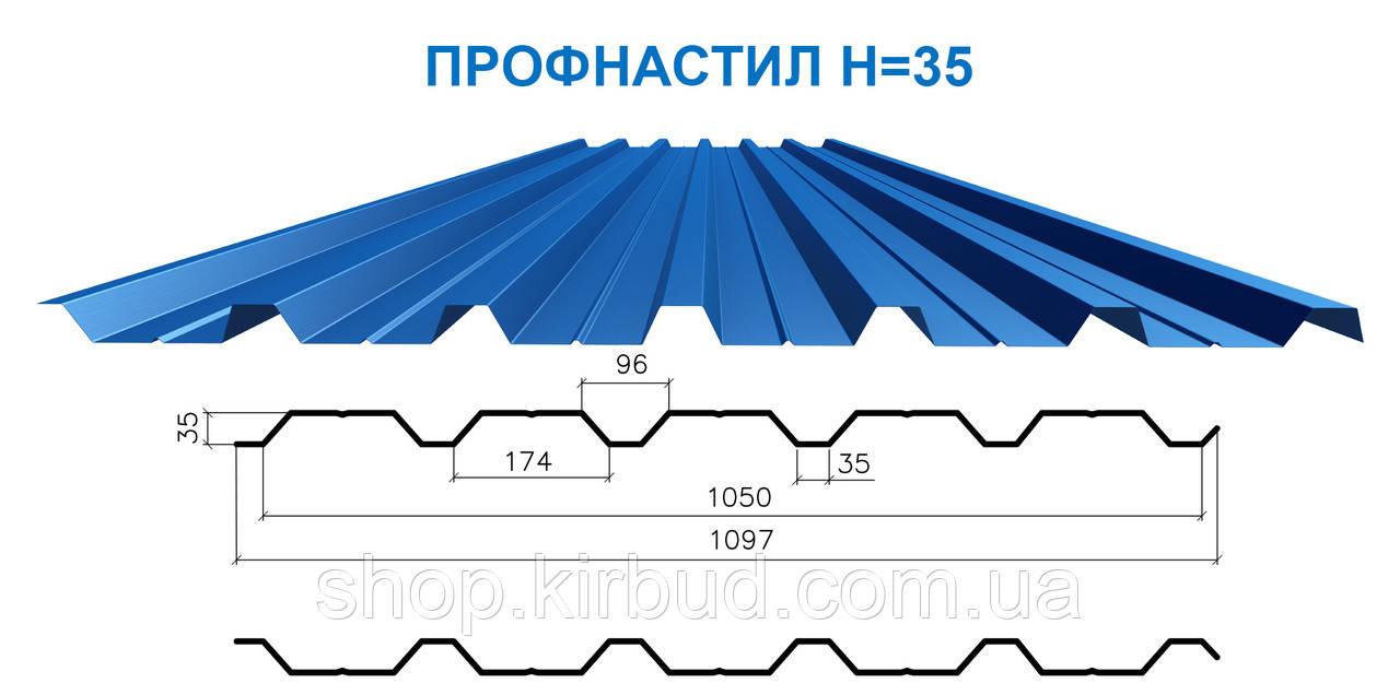 Профлист Н-35 глянцевый  0,40мм