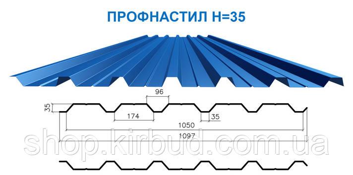 Профлист Н-35 глянцевый  0,40мм, фото 2