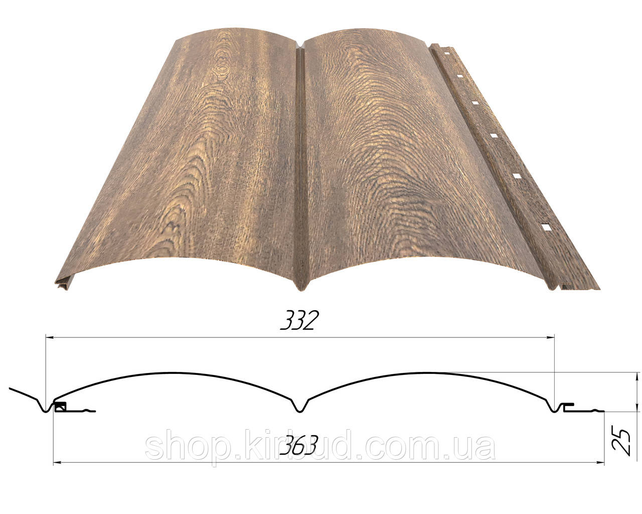 "Металевий сайдинг Блок-хаус ""Колода"" print дерево 0,40мм"