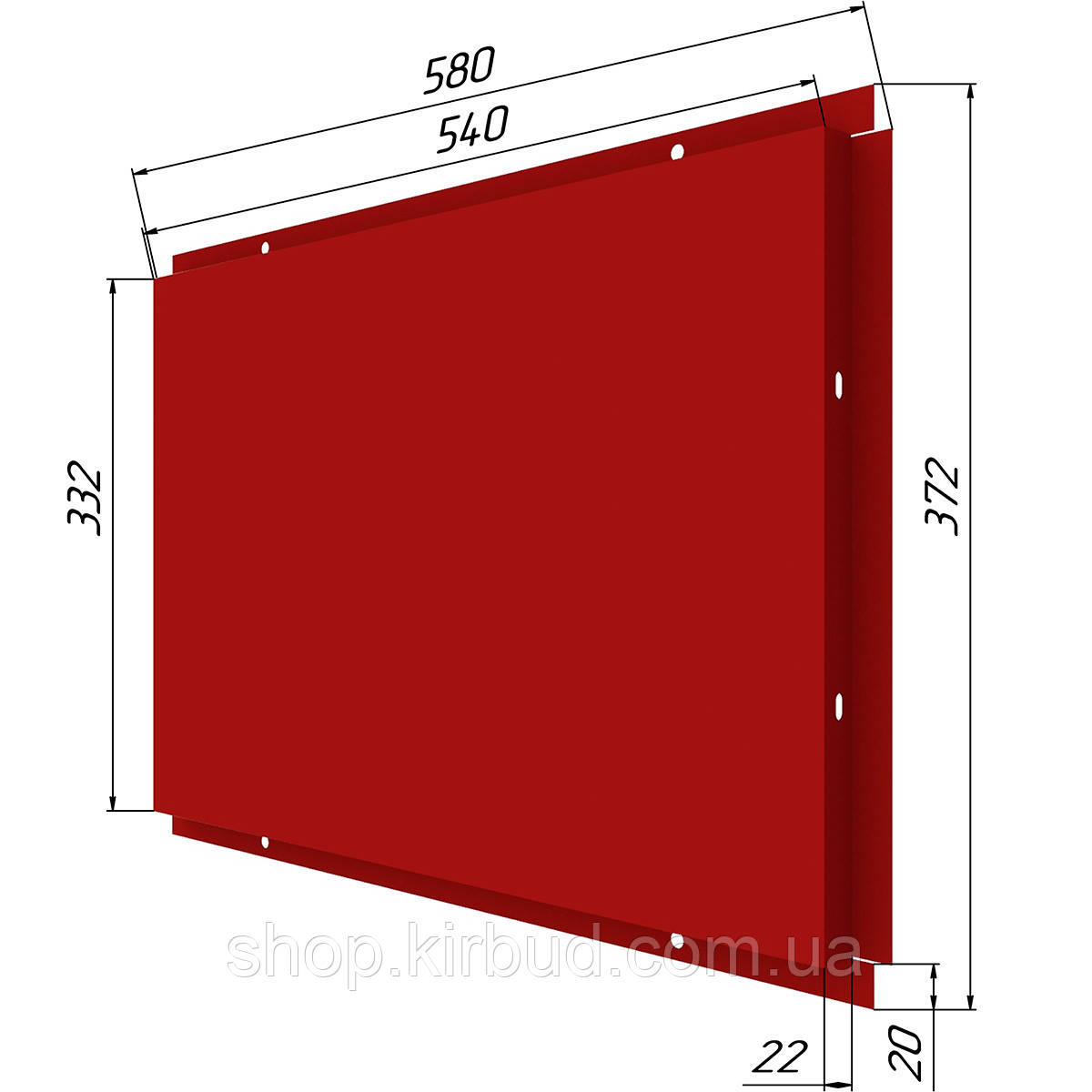 Фасадные касети (под заказ) оцинкованые 0,50мм 372х580мм