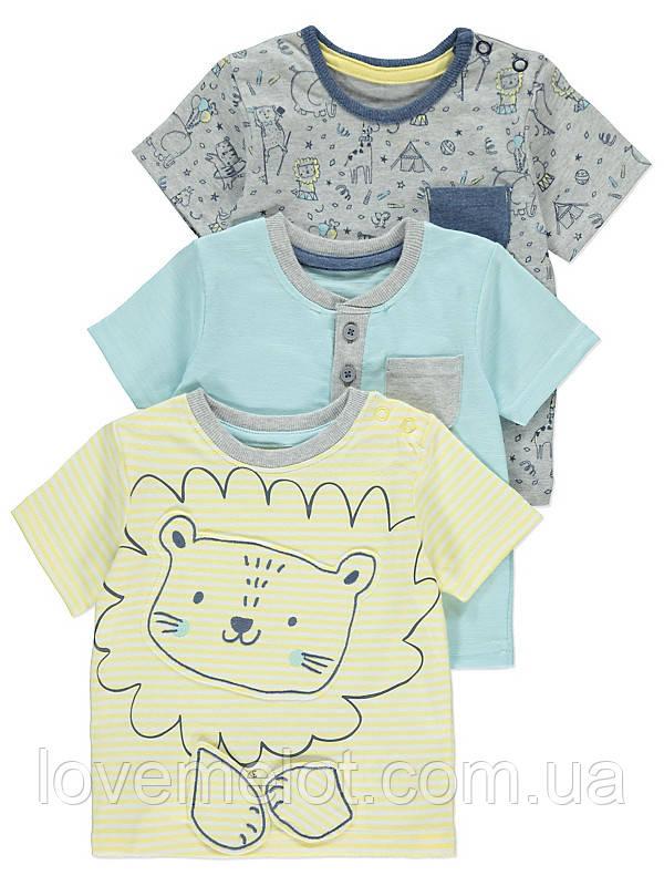 """Детские футболки с застежками, набор 3 шт для мальчика George """"Левушка"""" размер 80 см"""