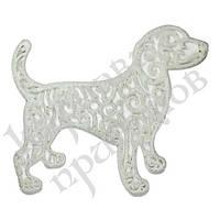 Распродажа! Украшение Собака Ажурная пластик 12х9см (белый)