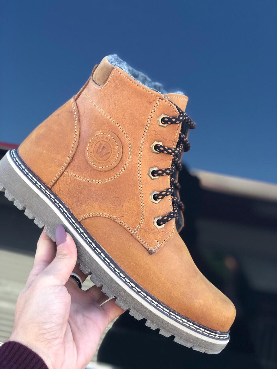 Зимние мужские ботинки, полуботинки черные натуральная кожа Walker 75