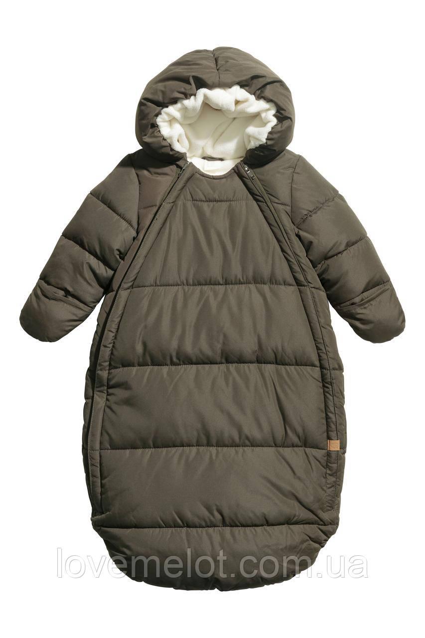 Конверт детский зимний теплый, детский комбинезон H&M хаки для новорожденного рост 56 см