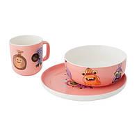 Набор посуды Monsters, фарфор розовый, 3 пр.