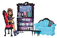Набор Monster High Coffin Bean and Clawdeen Wolf Doll Playset, Клодин Вульф с кофейней и мебелью.