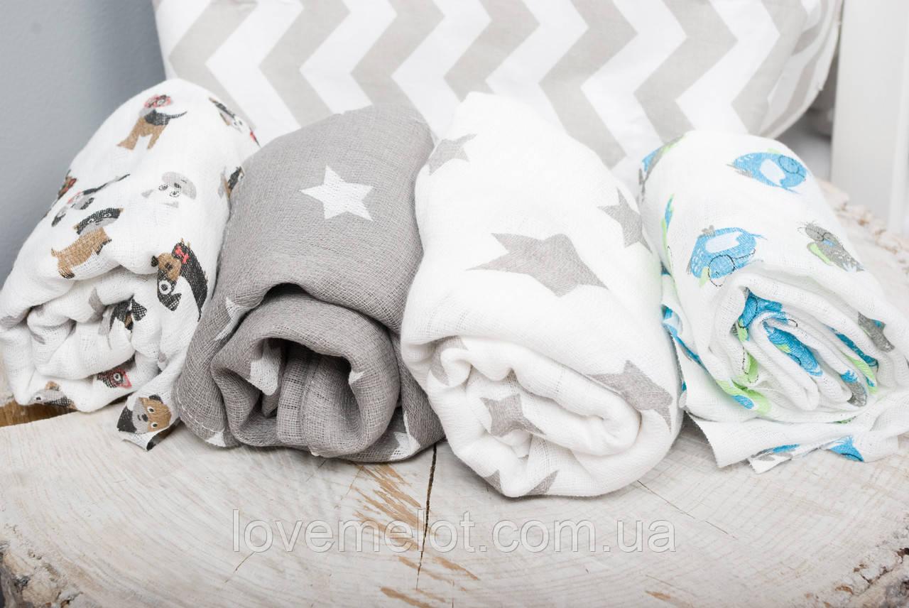 Детские пеленки муслиновые 80х80 для новорожденного  в ассортименте