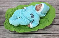 """Велюровый комбинезончик с шапочкой для младенцев """"Маленькие скоролевич"""" на хлопковом подкладе, фото 1"""