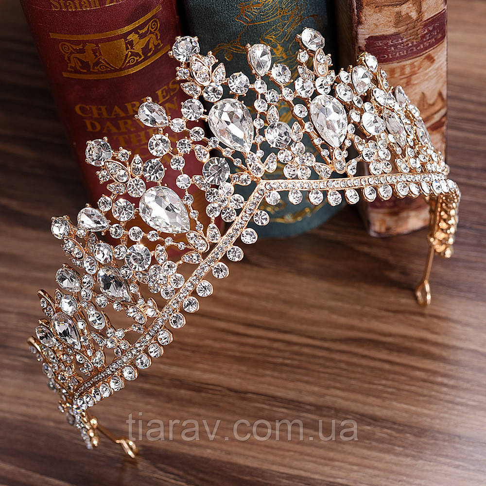 Свадебная тиара ЭЛИЗА шикарная корона высокая диадема