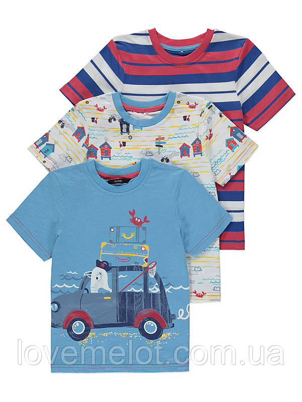 """Детские футболки для мальчика набор 3 шт George """"Летние встречи"""" рост 92, 98 см"""