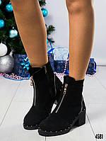 Ботинки женские со змейкой черные, фото 1