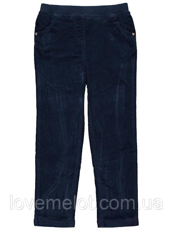 Детские вельветовые брюки на подкладке синие для девочки на рост 92см