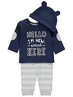 """Набор из 3-х вещей """"Новичок"""" для мальчика хлопковый, шапка, реглан, штанишки 6-9 месяцев, 9-12 и 12-18 месяцев"""