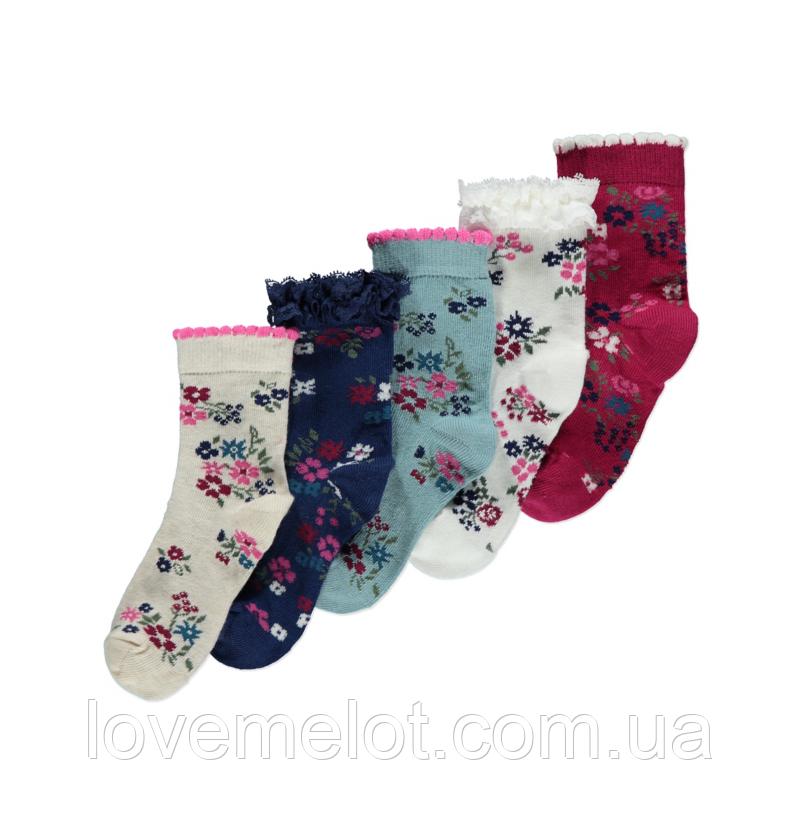 """Носки детские, набор носков для девочки """"Весенние цветы"""" 1-2 года размер 19-22"""