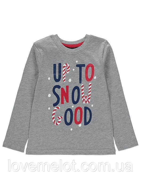 """Детский реглан с длинным рукавом """"Люблю снежок"""" для мальчика на рост 86см и 110см"""