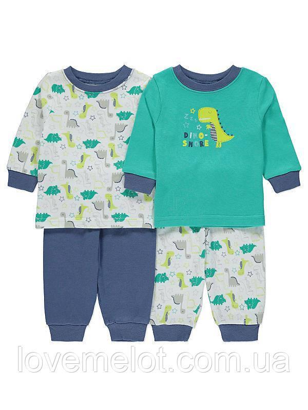 """Набор из 2-х детских хлопковых пижам """"Дино - соня"""" пижама для мальчика на 6-9 месяцев"""