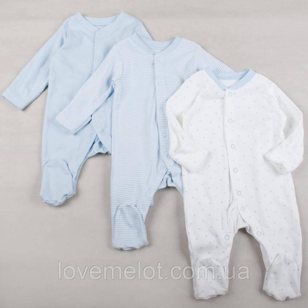 """Детские человечки слипы для новорожденных на рост 80см """"Первый сон"""" для мальчика, набор 3 шт"""