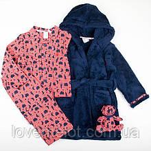 """Детский домашний набор теплый халат велсофт, пижама фланеливая и игрушка """"Медвин"""" для мальчика на рост 86см"""