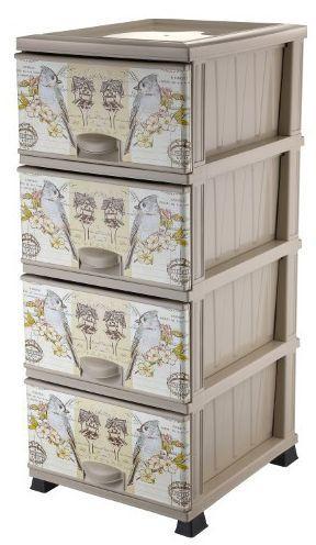 Комод Элиф пластиковый 4 ящика с рисунком Попугаи (Elif Plastik)