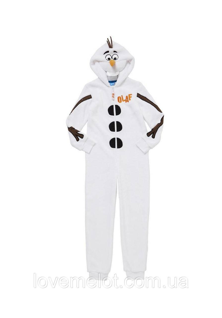 Детский карнавальный новогодний костюм без стоп Снеговик Олаф для утренника на 98,104 и 116см