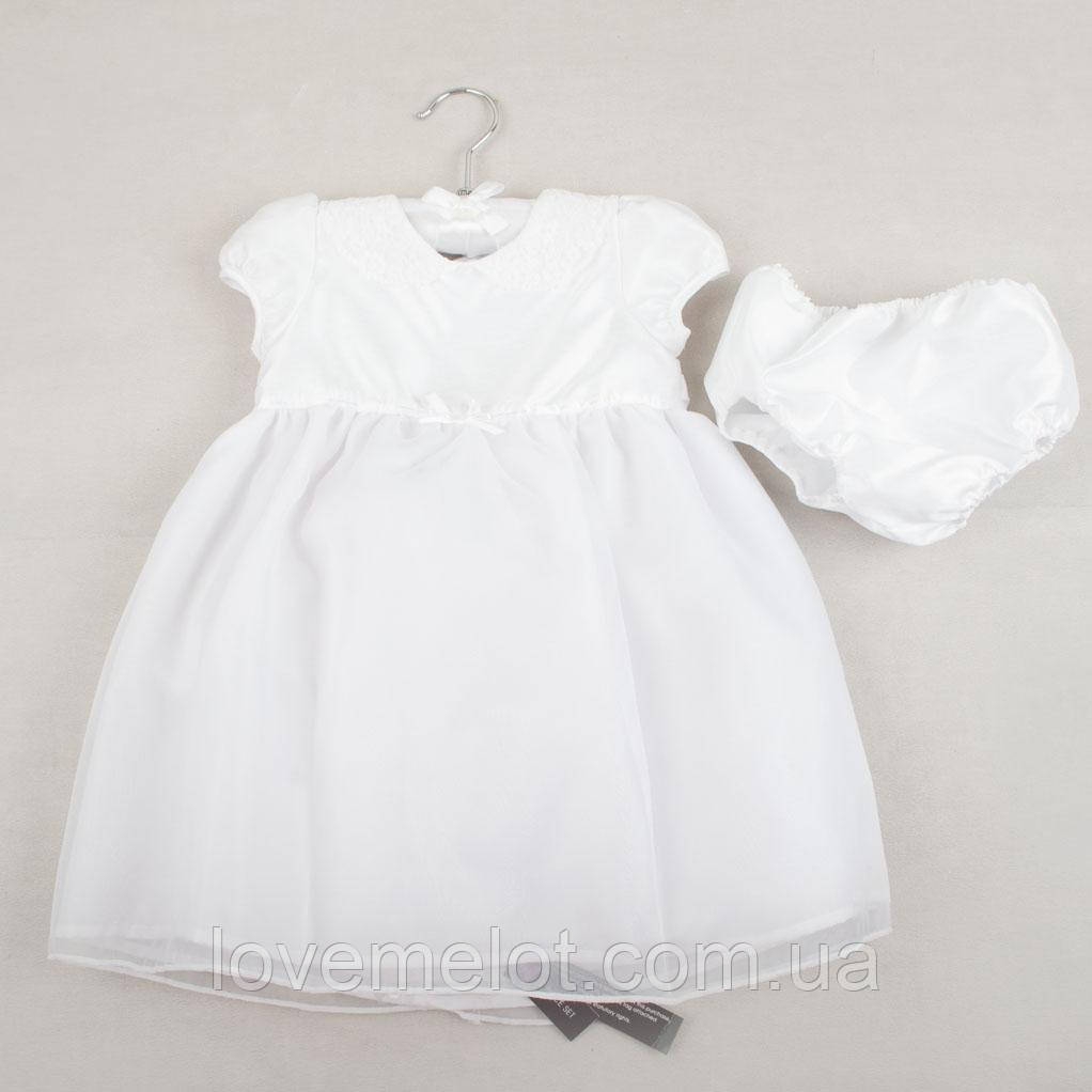"""Детское нарядное, крестильное белое платье """"Кутюр"""" для девочки, размер 68 см, 74 см"""