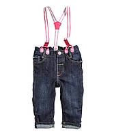 """Детские джинсы H&M на подтяжках для девочки на рост 80см и 86см """"Каролина"""" для девочки"""